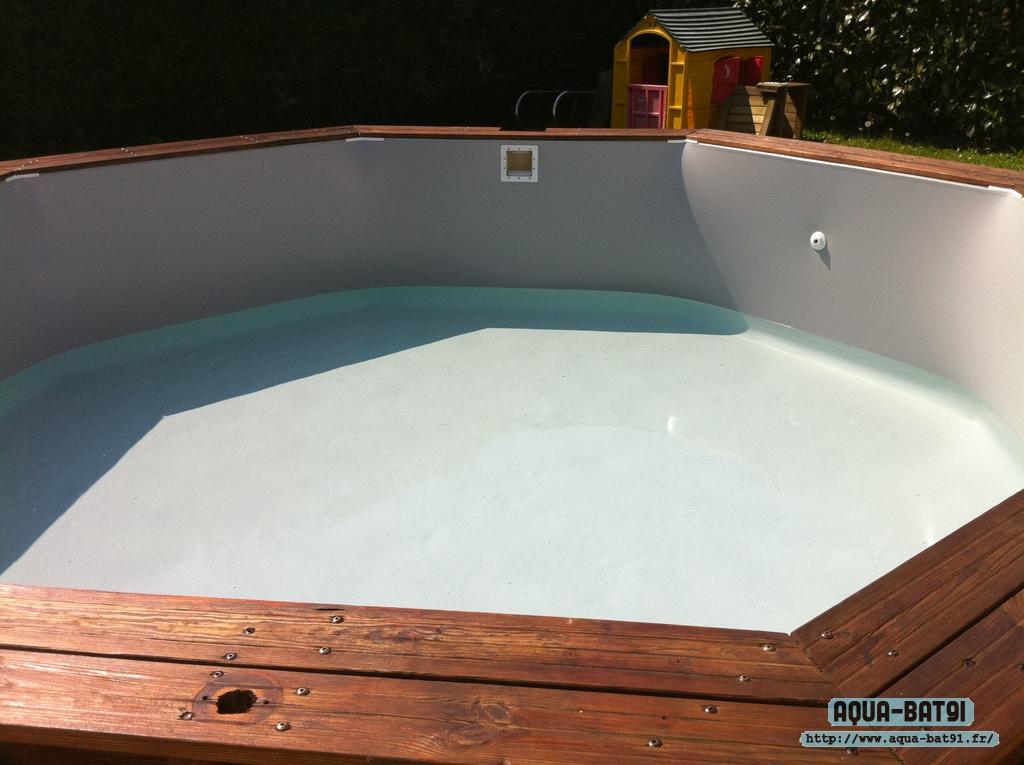 Piscines bois avec liner aqua bat91 for Liner piscine turquoise